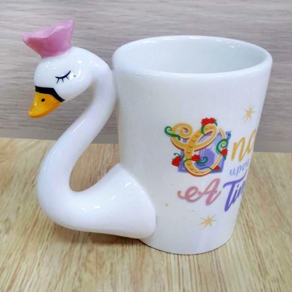 Керамична чаша Лебед принцеса с розова корона Once upon a time 350ml