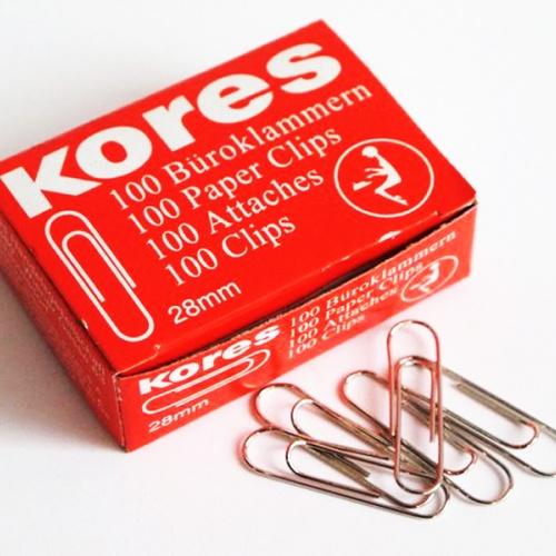 Кламер Kores, 28mm, 100 броя в кутия, метални кламери