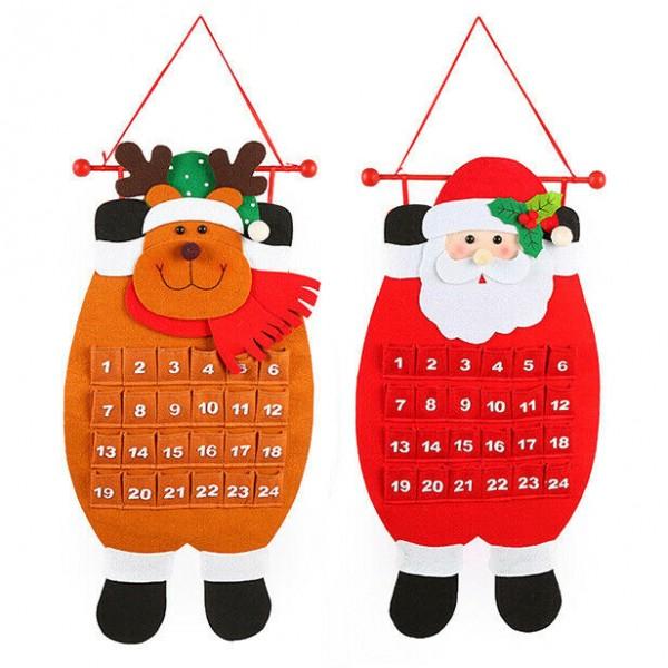 Текстилен коледен календар с джобчета Дядо Коледа или Еленче 68см