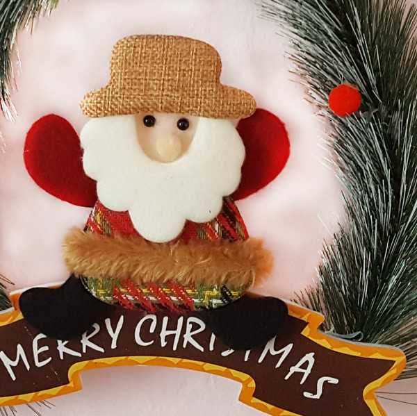 Коледен венец с надпис Merry Christmas и коледна фигура 24cm