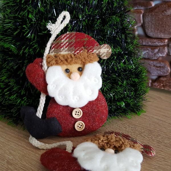 Коледна украса за окачване Дядо Коледа 3 броя на въженце