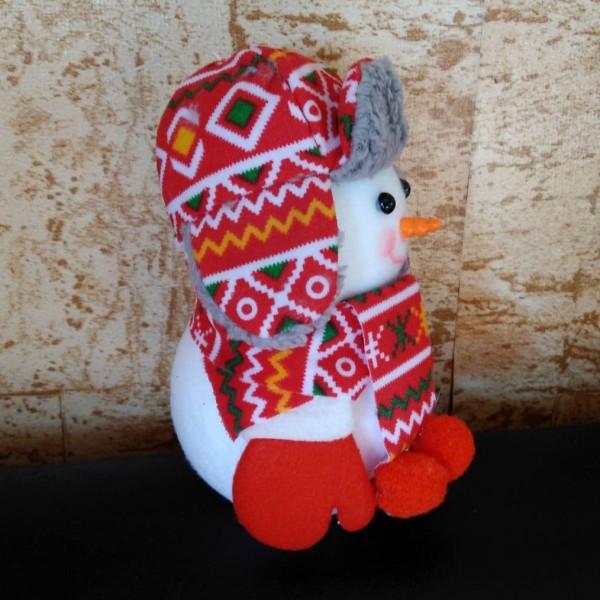Коледна фигура Снежен човек с шапка шал и ръкавички H16см