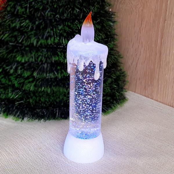 Коледна електронна свещ с преливащи LED светлини 18см