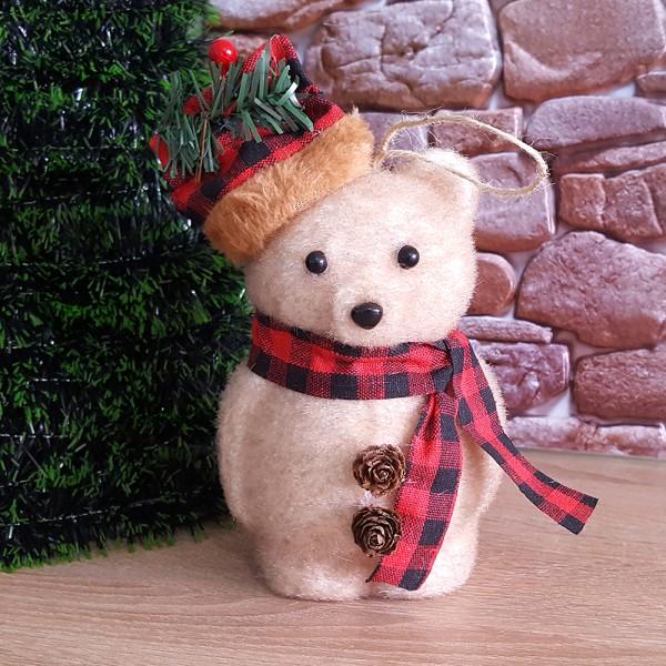 Коледна играчка Мече с шапка и шалче коледна украса 16см