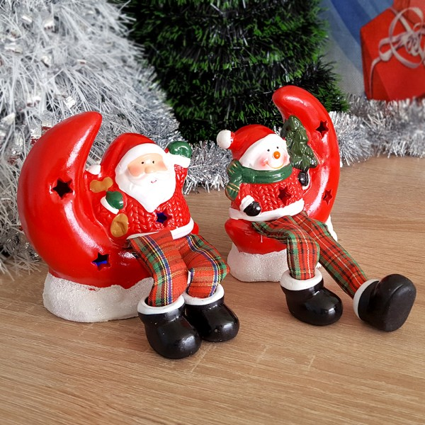 Светеща керамична фигурка Дядо Коледа Снежко с луна коледна декорация