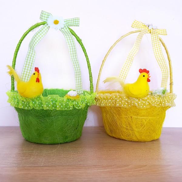 Кошничка с дръжка декорирана с пиле и гнездо яйца украса за Великден