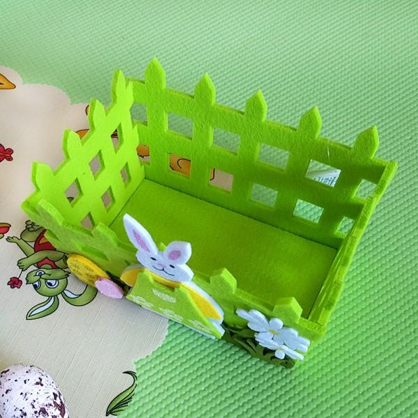 Панер за великденски яйца със зайче декоративно кошче за Великден