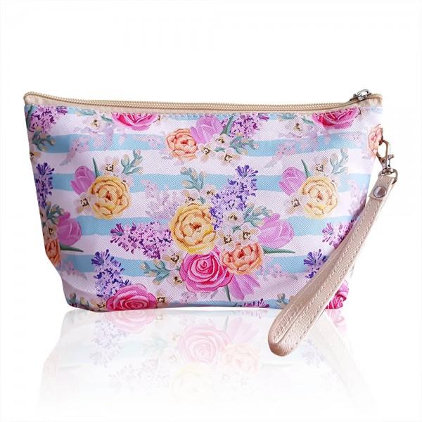 Дамска козметична чантичка несесер за гримове козметичка на цветя