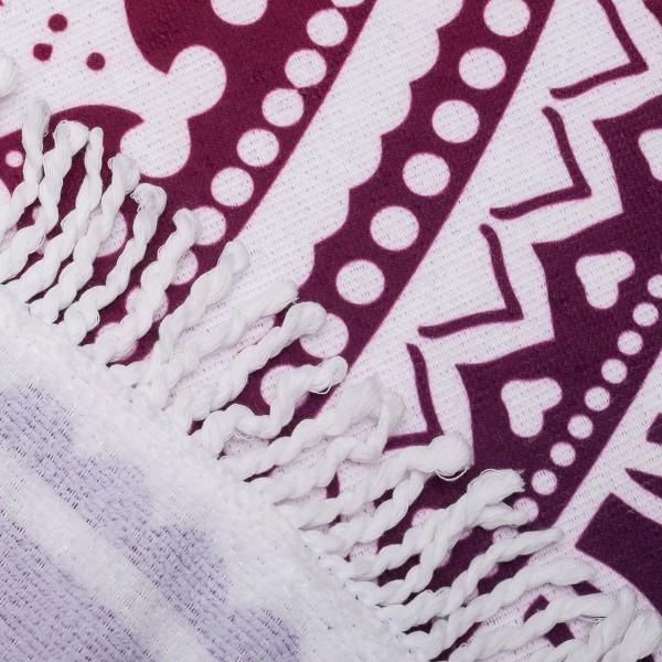 Кръгла плажна кърпа с ресни хавлия за плаж или басейн Мандал 150см
