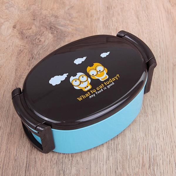 Малка пластмасова кутия за съхранение на храна с капак и прибор 420ml