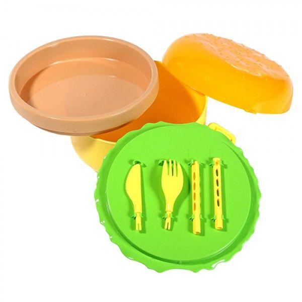 Детска кутия за обяд хамбургер с 3 отделения и прибори кутия за храна бургер