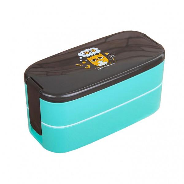 Детска кутия за обяд на две нива с отделения и виличка 750ml