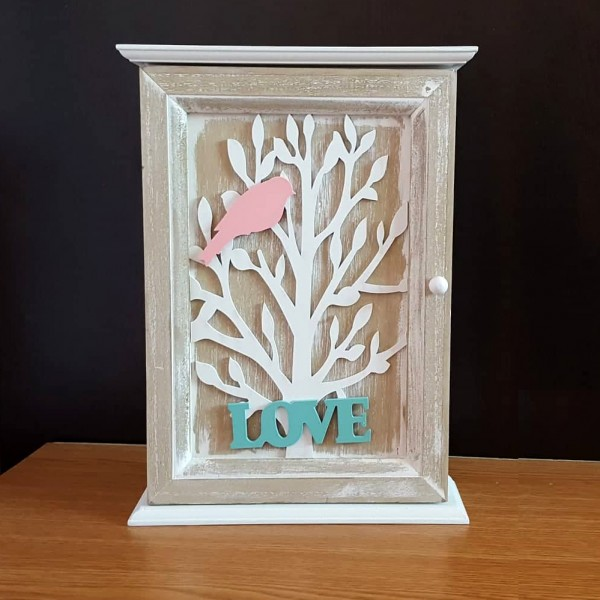Дървена къщичка за ключове LOVE Декоративна кутия за ключове за стена