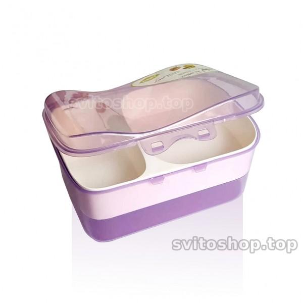 Кутия за храна с 3 отделения пластмасова кутия за обяд на две нива 1.8L