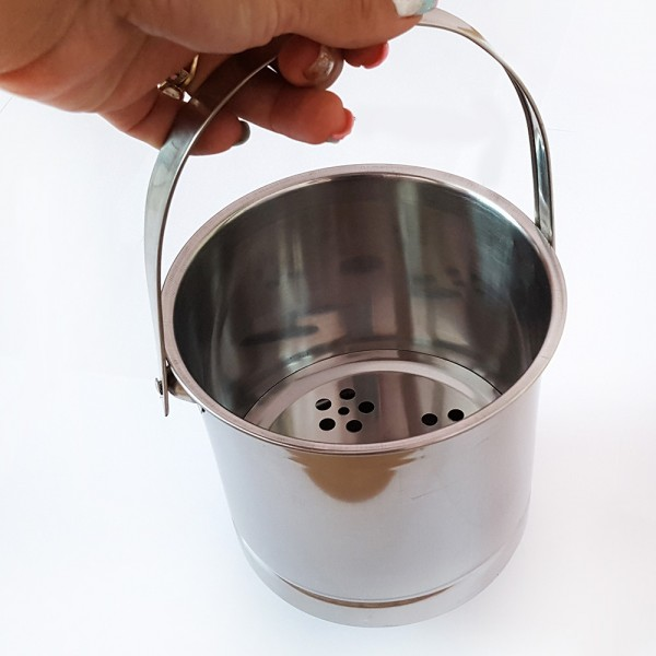 Метален съд за лед с решетка и дръжка ледарка инокс 1.3 литра