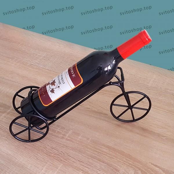 Метална стойка за бутилка вино Велосипед, матирано черен цвят