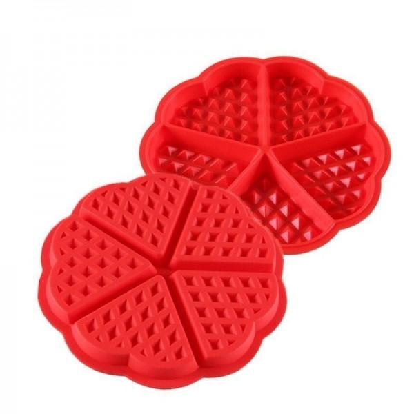 Силиконова форма за гофрети 5 гнезда молд за гофрети сърца