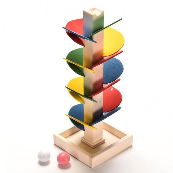 Образователна Детска дървена играчака Монтесори Дърво Пирамида Пъзел