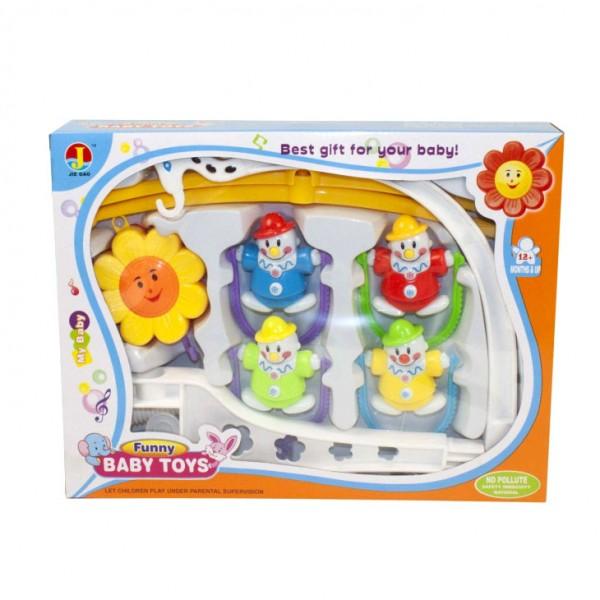 Музикална въртележка за бебешко креватче зайче слонче палячо човече