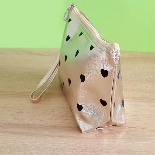 Дамски козметичен несесер за гримове козметична чанта златен цвят и сърца