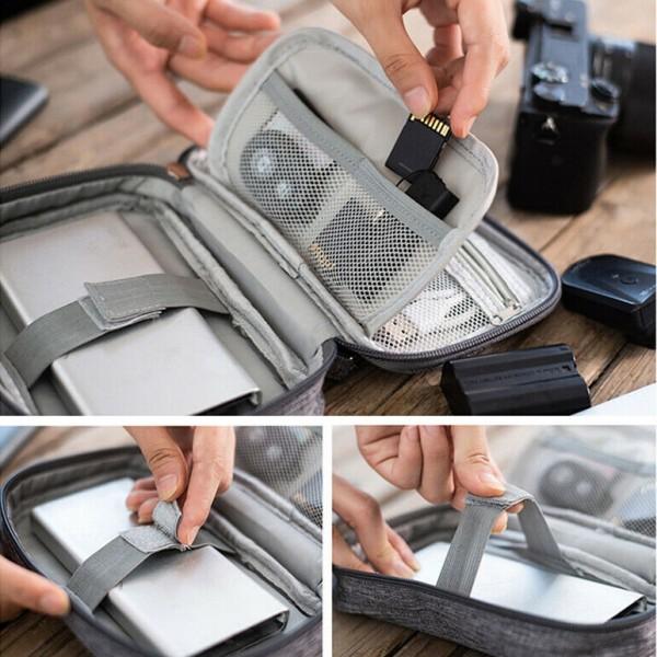 Малък несесер за USB кабели органайзер за флаш карти слушалки аксесоари
