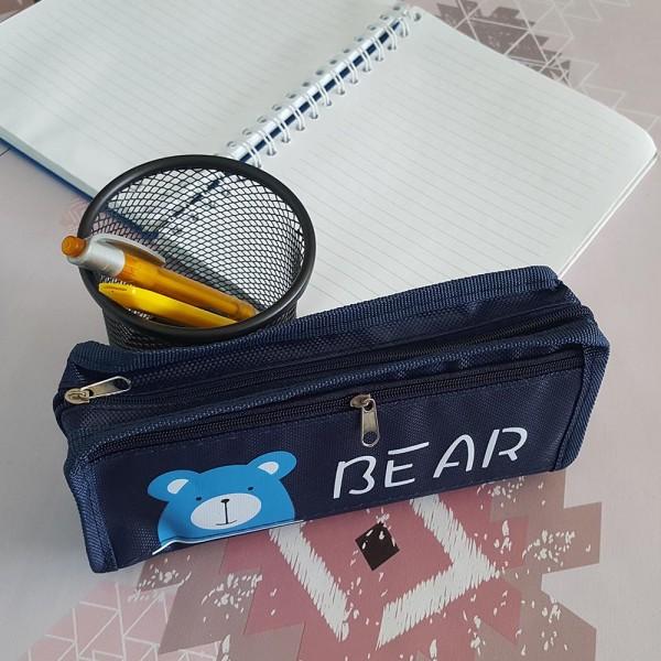 Ученически несесер с две отделения Животни BEAR FOX PENGUIN