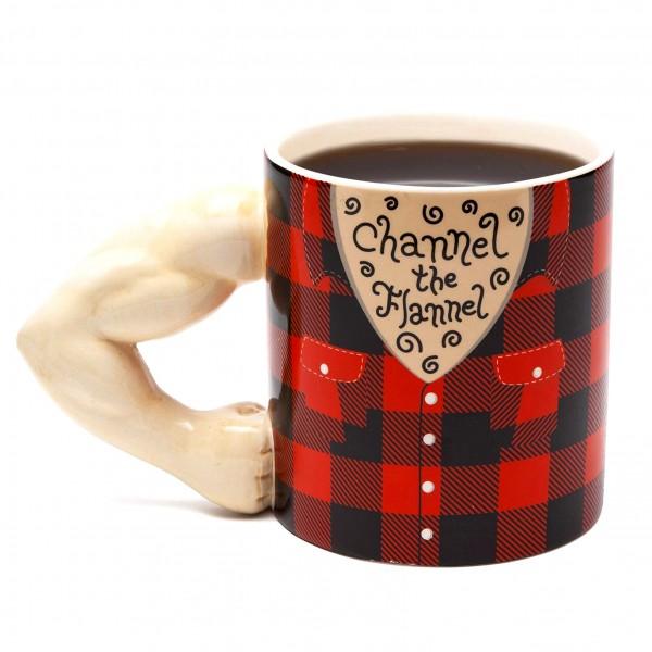 Голяма керамична чаша Channel the Flannel подарък за фитнес фен 700ml