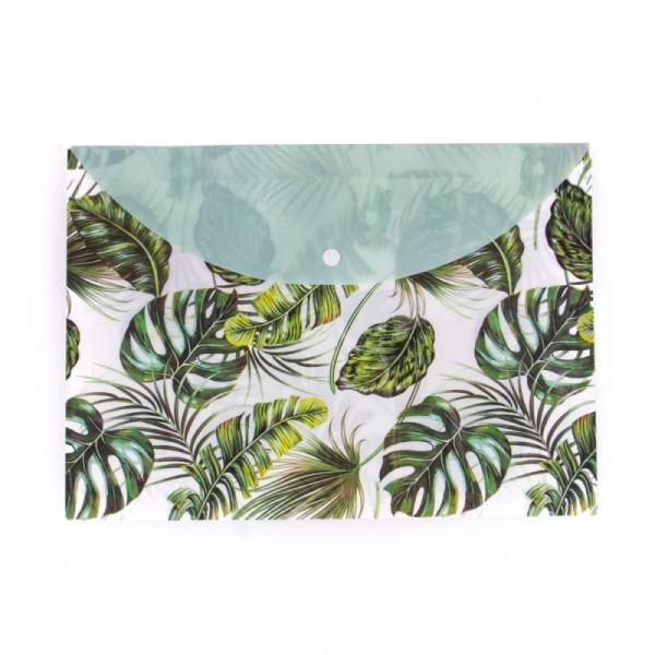 PVC папка с копче с принт на тропически листа