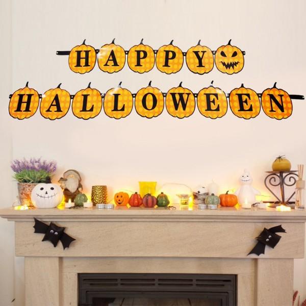 Хартиен надпис Happy Halloween парти гирлянд с тикви
