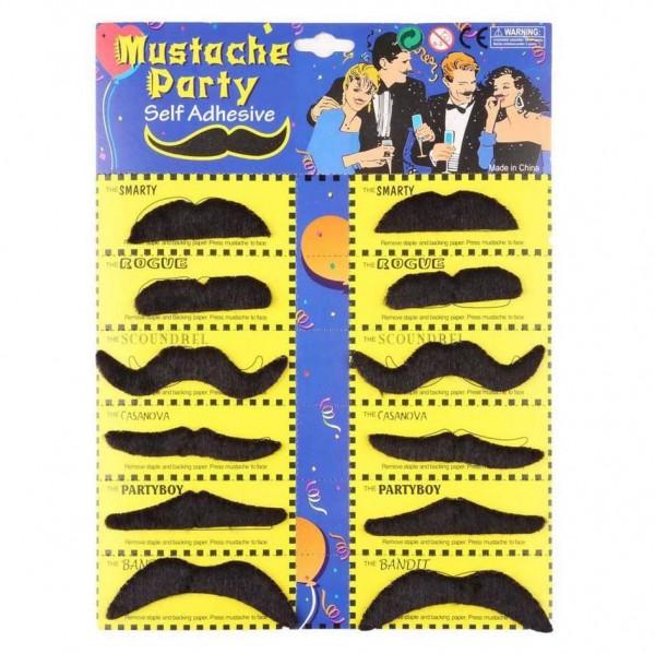 Самозалепващи фалшиви мустаци за парти изкуствени парти мустаци 12 броя