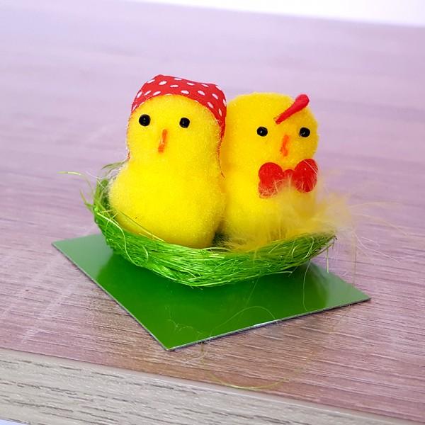 Мини декорация за Великден Пиленца в гнездо 5x5см