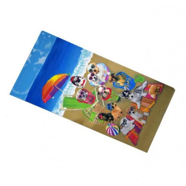 Плажна кърпа Кученца хавлия за плаж 70x150cm