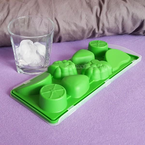 Пластмасова форма за лед с капак плодове големи кубчета лед