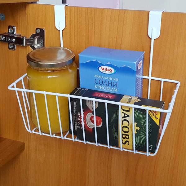 Закачаща се метална етажерка кошница за врата на кухненски шкаф