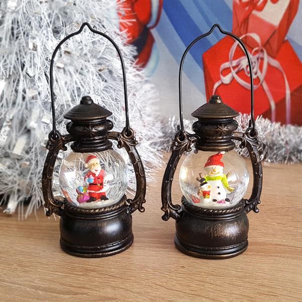 Коледно преспапие фенер снежна топка с Дядо Коледа или Снежен човек