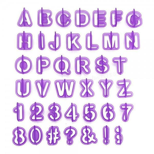 Комплект от 40 броя резци букви цифри и символи за декорация на торти