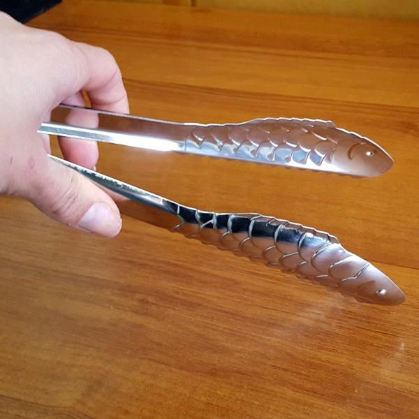 Метална щипка за скара Риба кухненска щипка за сервиране 24см