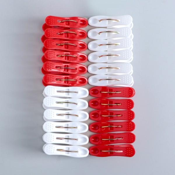 Комплект от 24 броя щипки за простиране в бяло и червено 6см