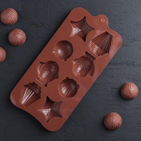 Силиконова форма за шоколадови бонбони морско дъно