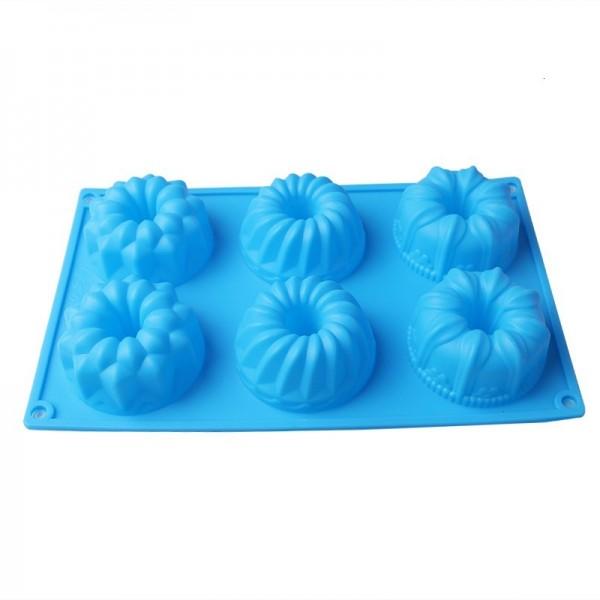 Силиконова форма за мъфини кексчета с 6 гнезда