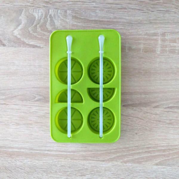 Силиконова форма за ледени близалки със стик лимонови резенчета