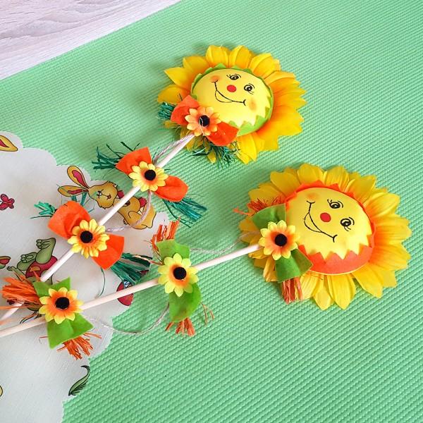 Слънчоглед на пръчка Великденска украса 50см
