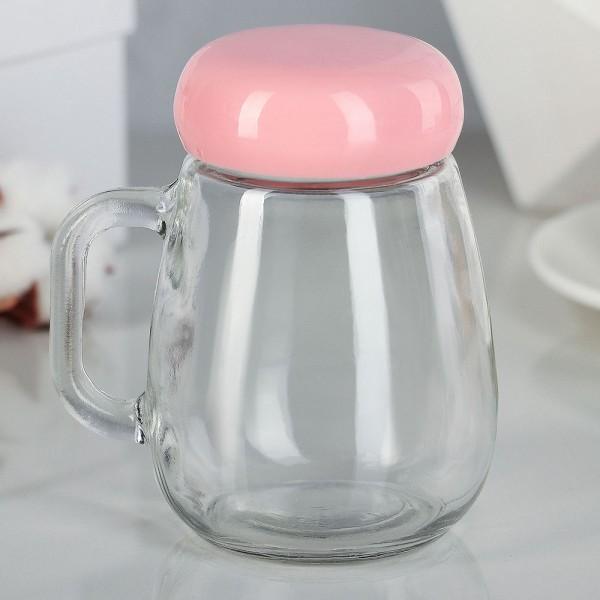Стъклен буркан чаша за чай с цедка дръжка и капаче на винт 380мл