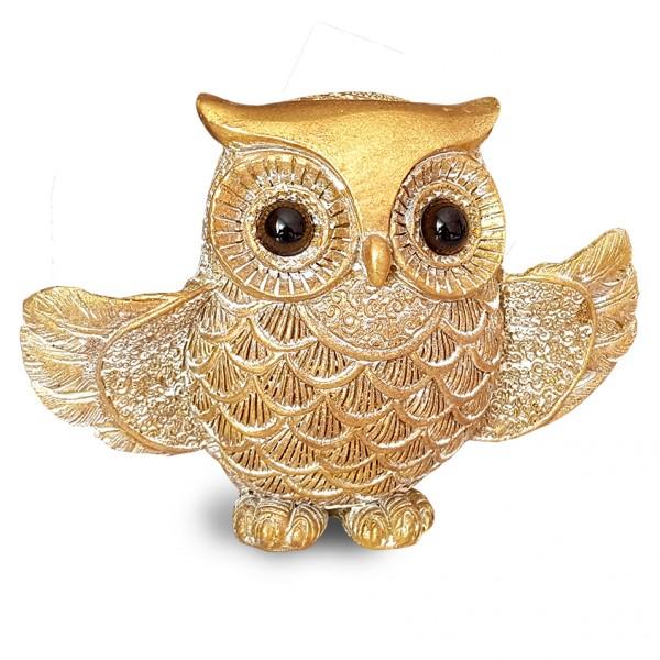 Златист сувенир бухал с разперени крила декоративна фигура