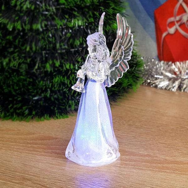 Коледна светеща фигурка Ангел с крила 11см коледна играчка за украса