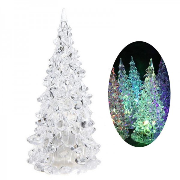 Декоративна светеща коледна елхичка с многоцветни LED светлини 12см