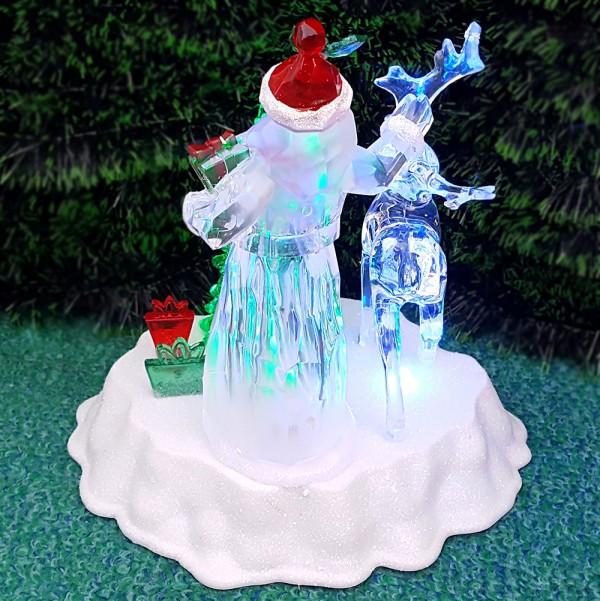 Светещ Дядо Коледа с елен и елхичка с 5 мелодии коледна украса 20см
