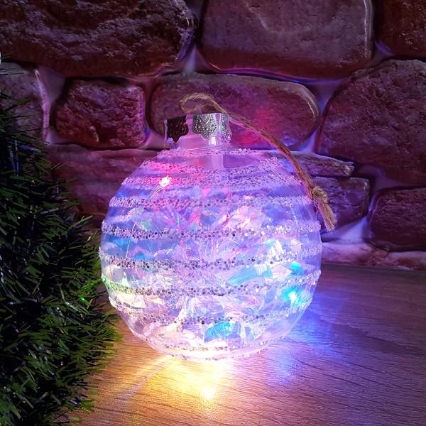 Светеща коледна топка с брокат за украса на елха 10см диаметър
