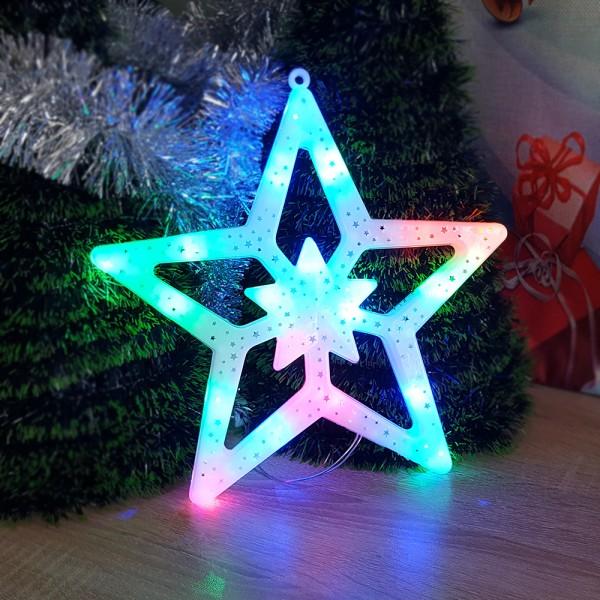 Светеща коледна звезда с преливащи LED свeтлини украса за стена 27см