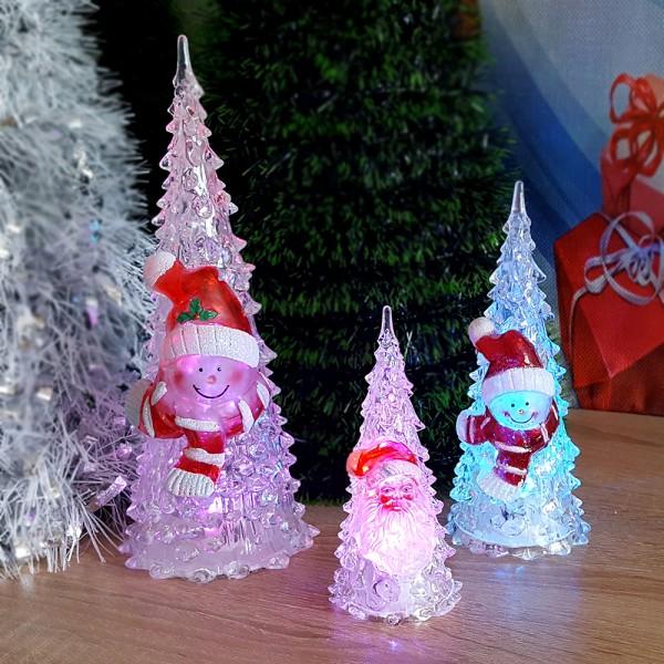 Светеща коледна елхичка с Дядо Коледа или Снежко 3 размера